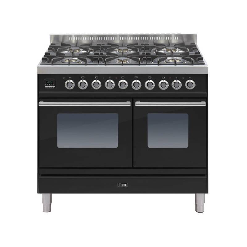 ILVE Roma Dual Fuel 100 Twin 6 Burner Black Gl primary image