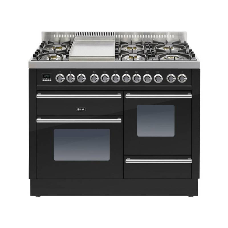 ILVE Roma Dual Fuel 110 6 Burner Fry Top Black Gl primary image