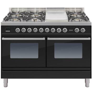 ILVE Roma Dual Fuel 120 6 Burner Fry Top Black Gl