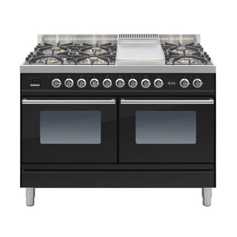 ILVE Roma Dual Fuel 120 6 Burner Fry Top Black Gl primary image