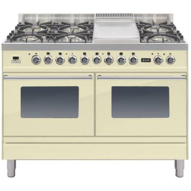 ILVE Roma Dual Fuel 120 6 Burner Fry Top Cream