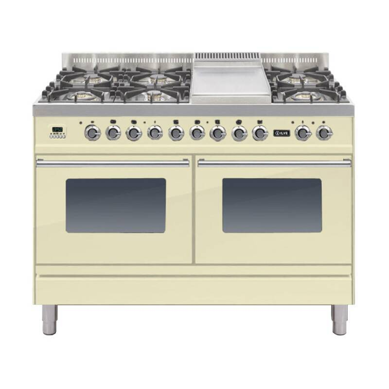 ILVE Roma Dual Fuel 120 6 Burner Fry Top Cream primary image