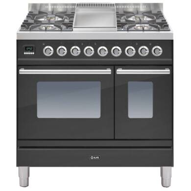 ILVE Roma Dual Fuel 90 Twin 4 Burner Fry Top Black Mt