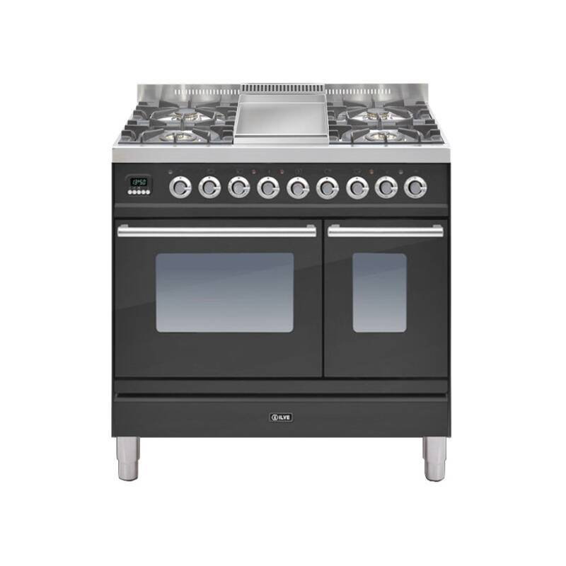 ILVE Roma Dual Fuel 90 Twin 4 Burner Fry Top Black Mt primary image