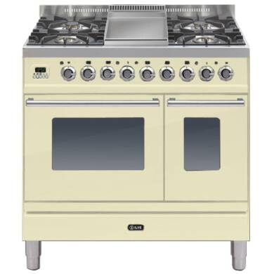 ILVE Roma Dual Fuel 90 Twin 4 Burner Fry Top Cream