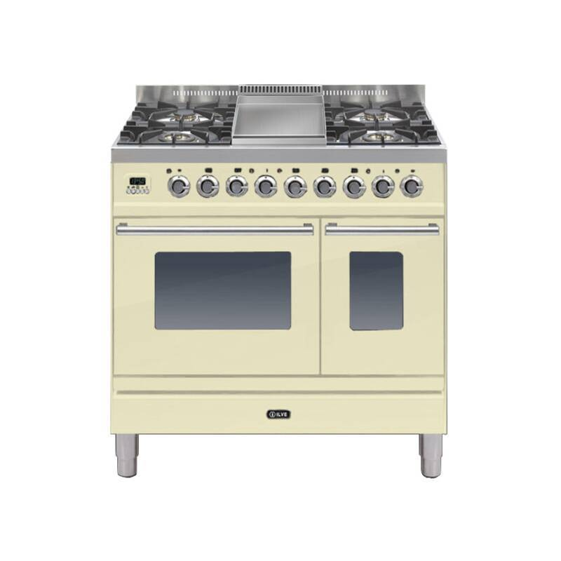 ILVE Roma Dual Fuel 90 Twin 4 Burner Fry Top Cream primary image
