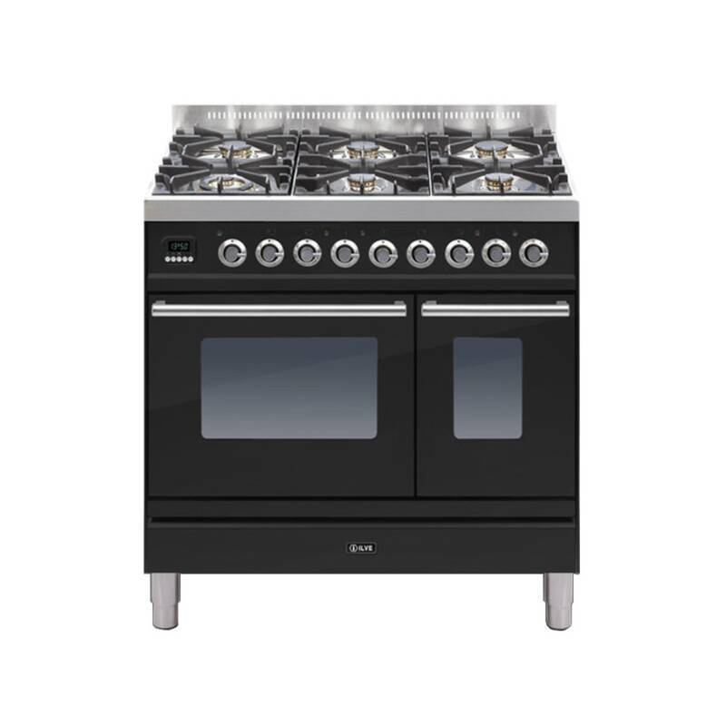 ILVE Roma Dual Fuel 90 Twin 6 Burner Black Gl primary image
