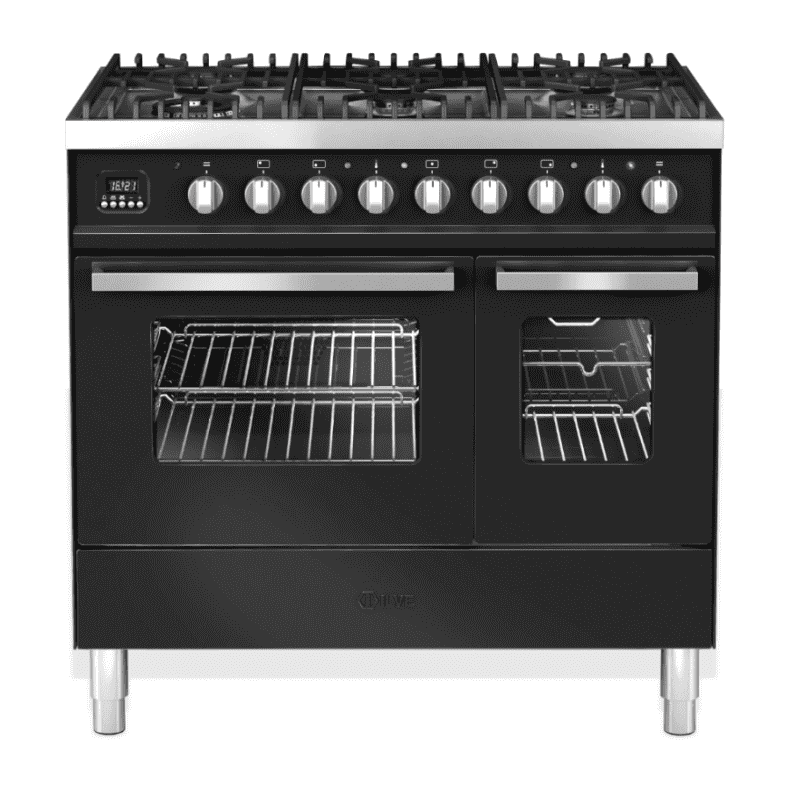 Ilve Venezia 90cm Twin Range Cooker 6 Burner Gloss Black primary image