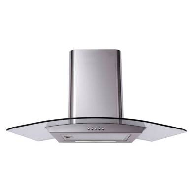 Matrix H900xW900xD490 Curved Glass Chimney Cooker Hood - Stainless Steel