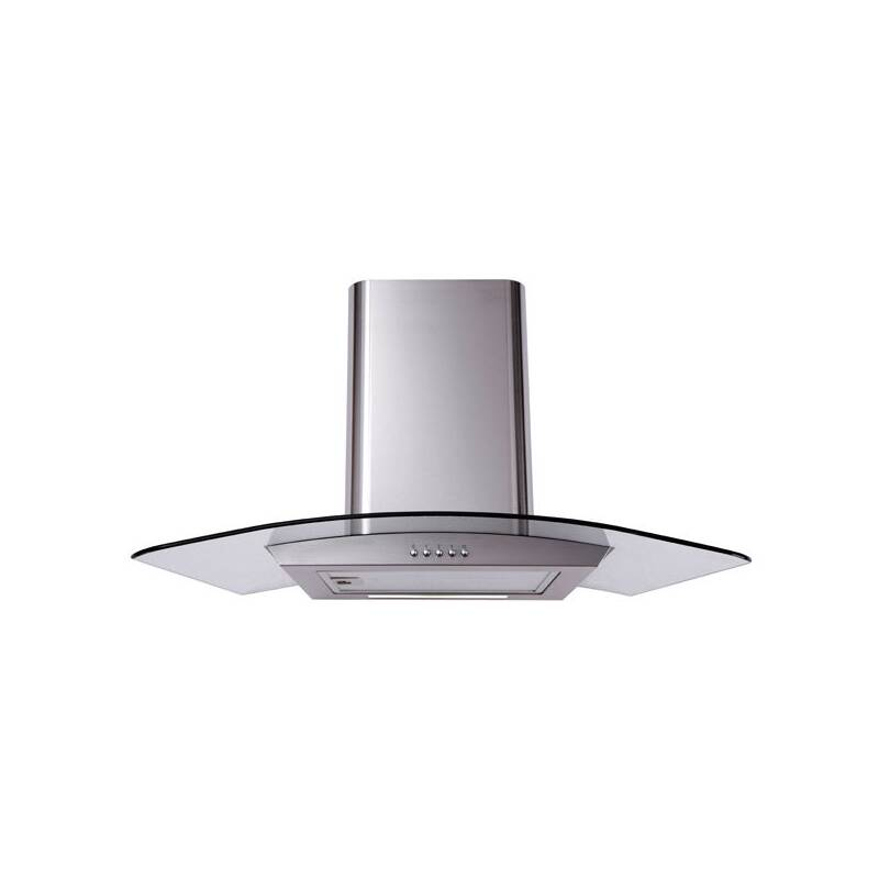 Matrix H900xW900xD490 Curved Glass Chimney Cooker Hood - Stainless Steel primary image