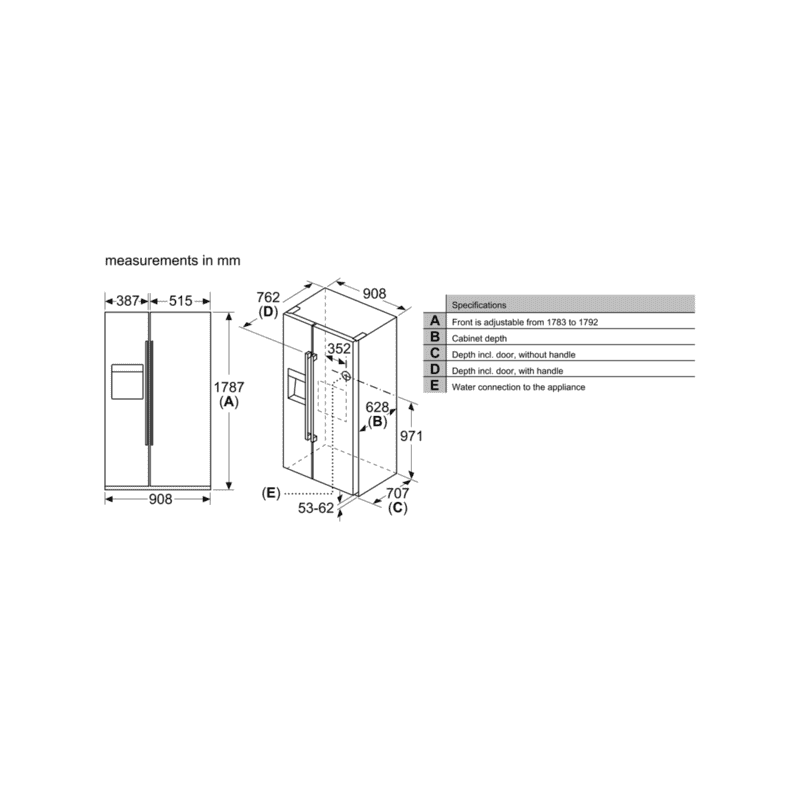 Neff H1787xW908xD707 American Side by Side Fridge Freezer additional image 4