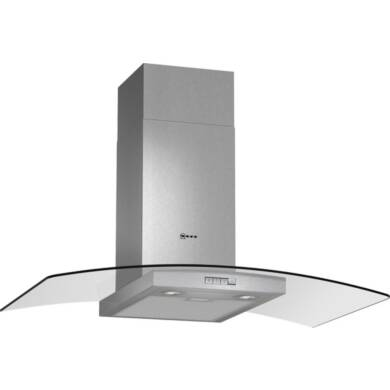 Neff H638xW900xD540 Chimney Cooker Hood - Stainless Steel and Grey Glass