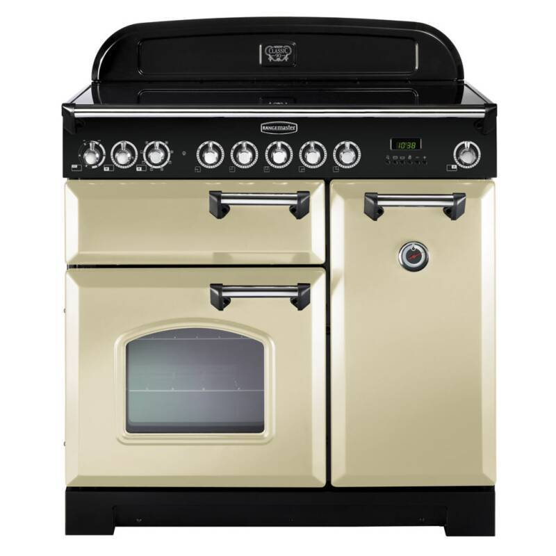 Rangemaster Classic Deluxe 90 Ceramic - Cream/Chrome primary image