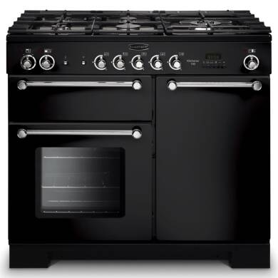 Rangemaster KCH100DFFBL/C Kitchener 100 Dual Fuel - Black/Chrome - KCH100DFFBL/C