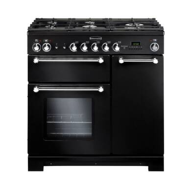 Rangemaster KCH90DFFBL/C Kitchener 90 Dual Fuel FSD - Black/Chrome - KCH90DFFBL/C
