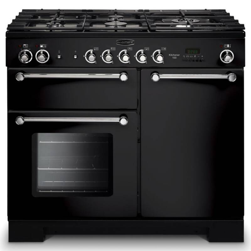 Rangemaster Kitchener 100 Dual Fuel - Black/Chrome primary image