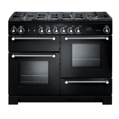 Rangemaster Kitchener 110 Dual Fuel - Black/Chrome