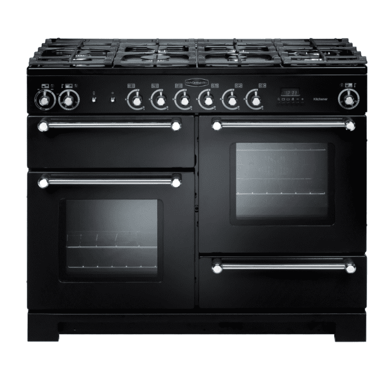Rangemaster Kitchener 110 Dual Fuel - Black/Chrome primary image
