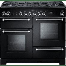 Rangemaster Kitchener 110 Dual Fuel - Black/Chrome