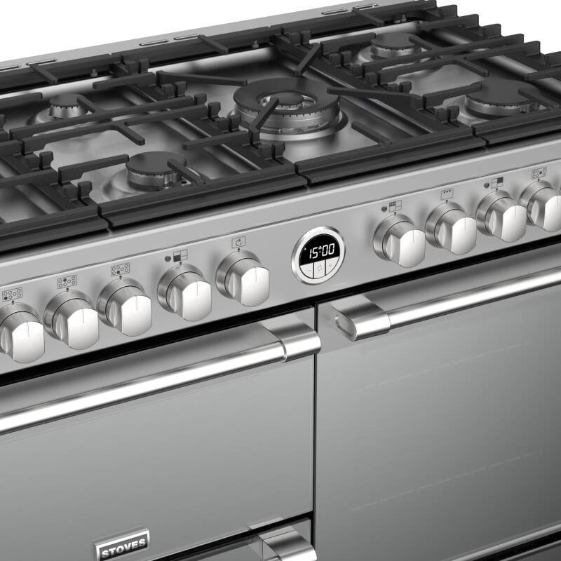 Stoves Sterling Deluxe 100cm Dual Fuel Range Cooker - Stainless Steel additional image 1