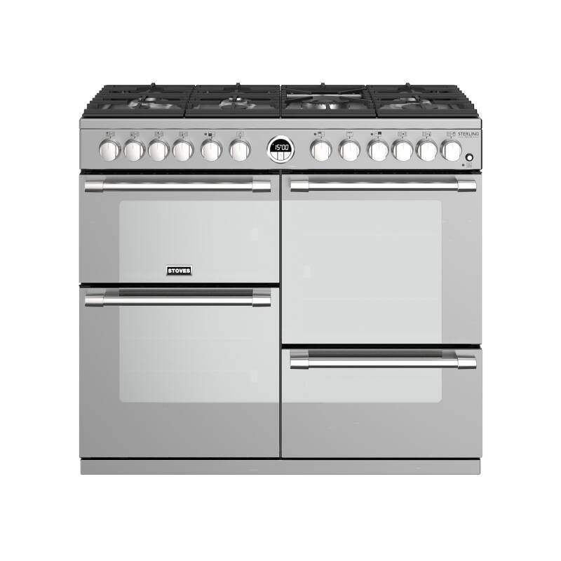 Stoves Sterling Deluxe 100cm Dual Fuel Range Cooker - Stainless Steel primary image