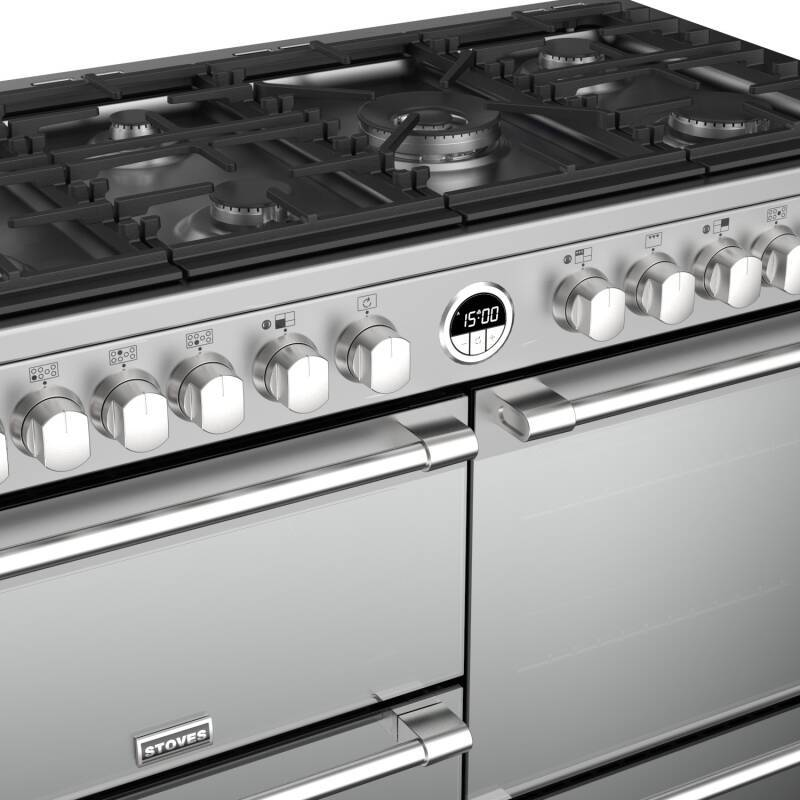 Stoves Sterling Deluxe 110cm Dual Fuel Range Cooker - Stainless Steel additional image 1