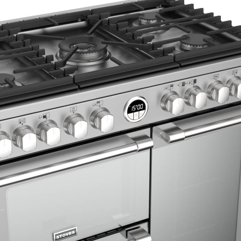 Stoves Sterling Deluxe 90cm Dual Fuel Range Cooker - Stainless Steel additional image 3