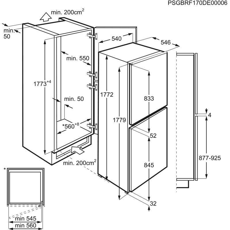 Zanussi H1772xW540xD549 50/50 Frost Free Integrated Fridge Freezer additional image 1
