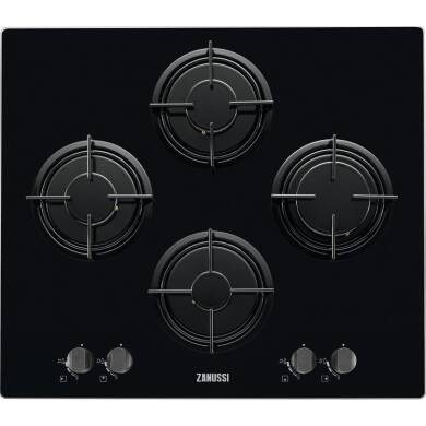 Zanussi H47xW595xD520 Gas On Glass 4 Burner Hob - Black
