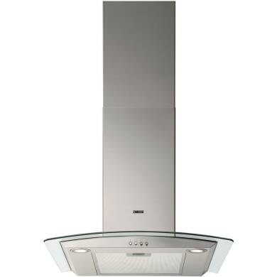 Zanussi H603xW600xD450 Curved Glass Chimney Cooker Hood - Stainless Steel