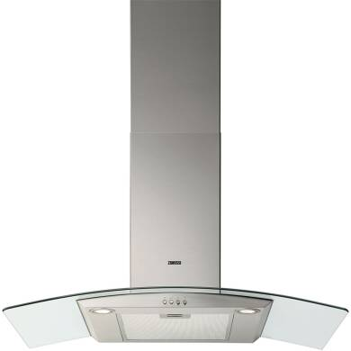Zanussi H603xW900xD450 Curved Glass Chimney Cooker Hood - Stainless Steel