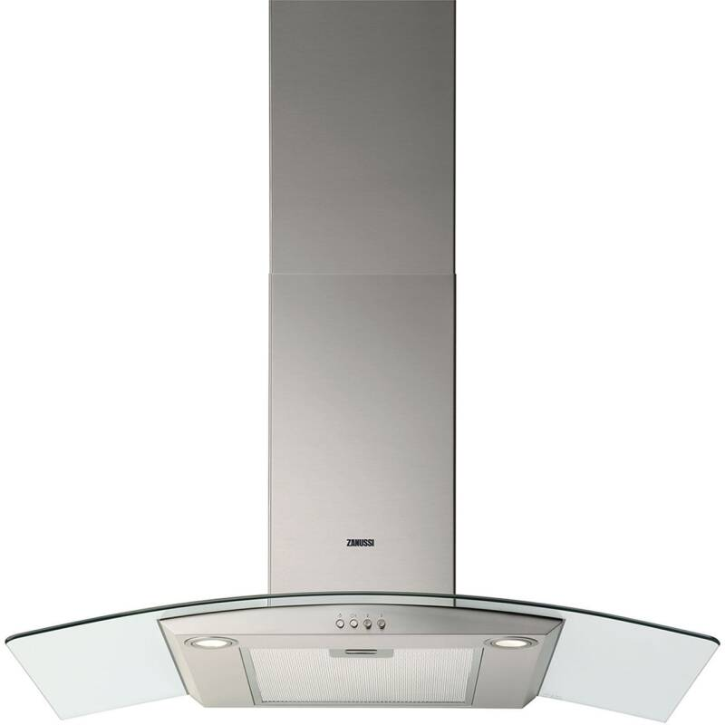 Zanussi H603xW900xD450 Curved Glass Chimney Cooker Hood - Stainless Steel primary image