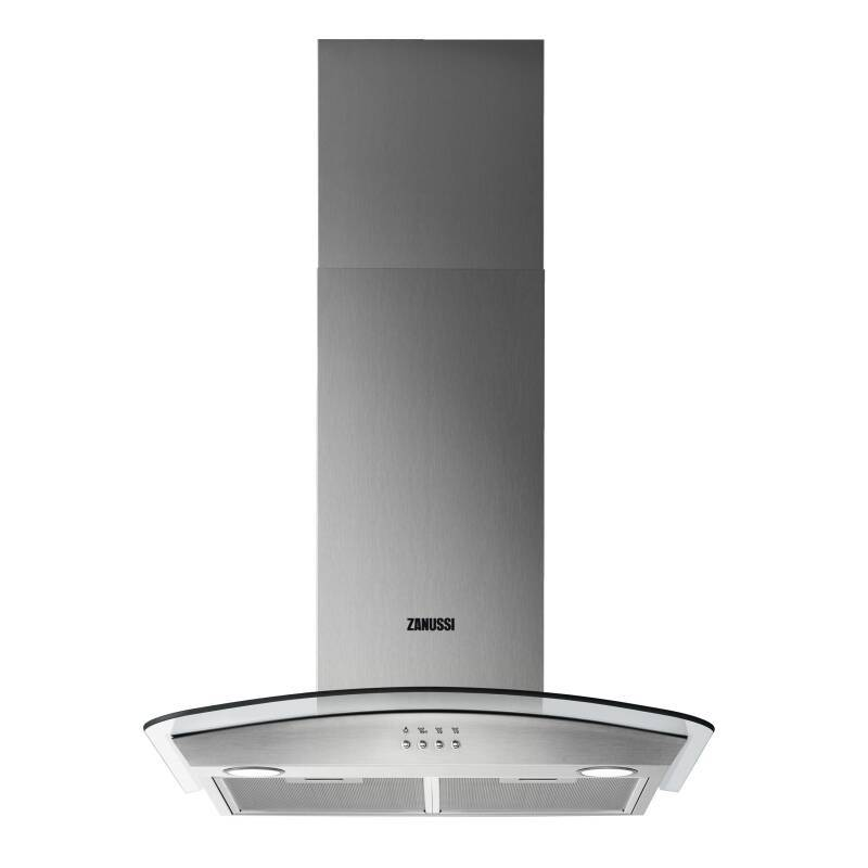 Zanussi H605xW600xD500 Chimney Cooker Hood and Curved Glass primary image