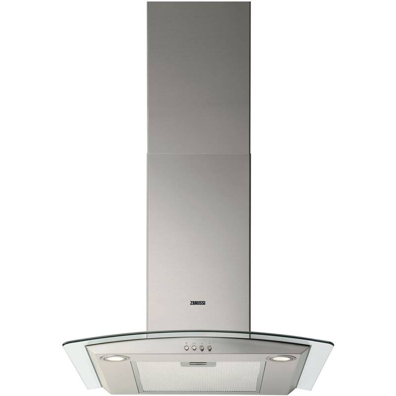 Zanussi H672xW598xD450 Curved Glass Chimney Cooker Hood - Stainless Steel primary image