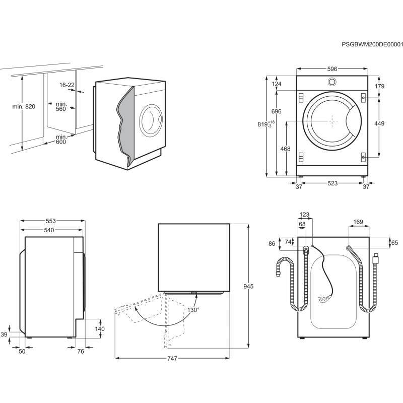 Zanussi H819xW596xD540 Integrated Washer Dryer (8kg) additional image 2