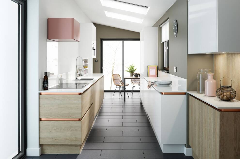 Spread your kitchen over both sides with a corridor or galley layout