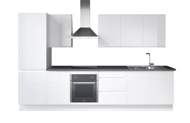 Wren Kitchens Vogue J-Pull White Gloss vs. B&Q Garcinia Gloss White*