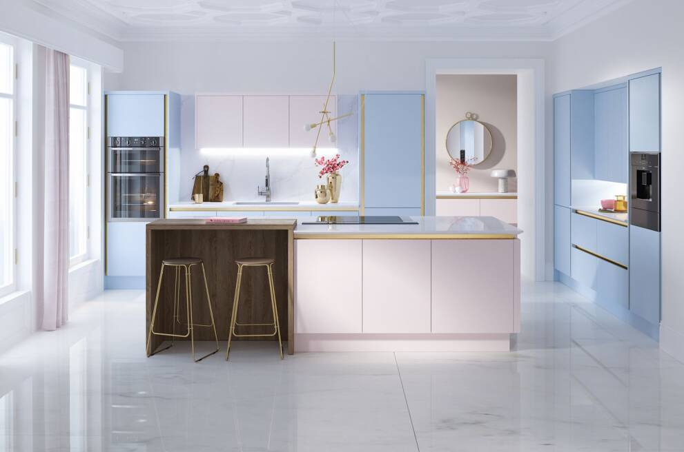 Mix pastel colours with luxe materials for a sophisticated look