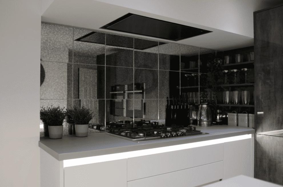 Monochrome tile splashback